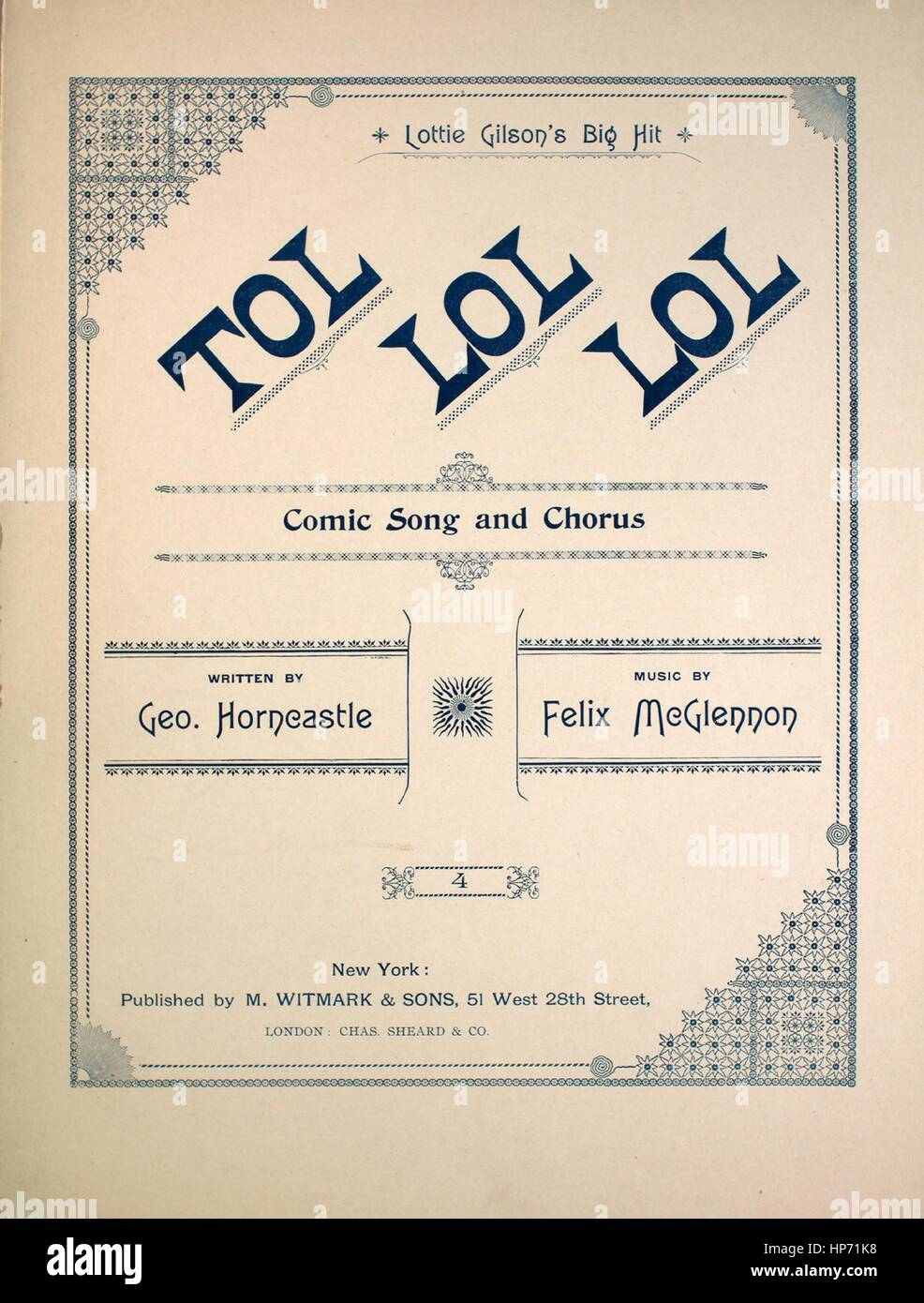 Sheet music cover image of the song 'Tol Lol Lol Comic Song and Chorus', with original authorship notes - Stock Image