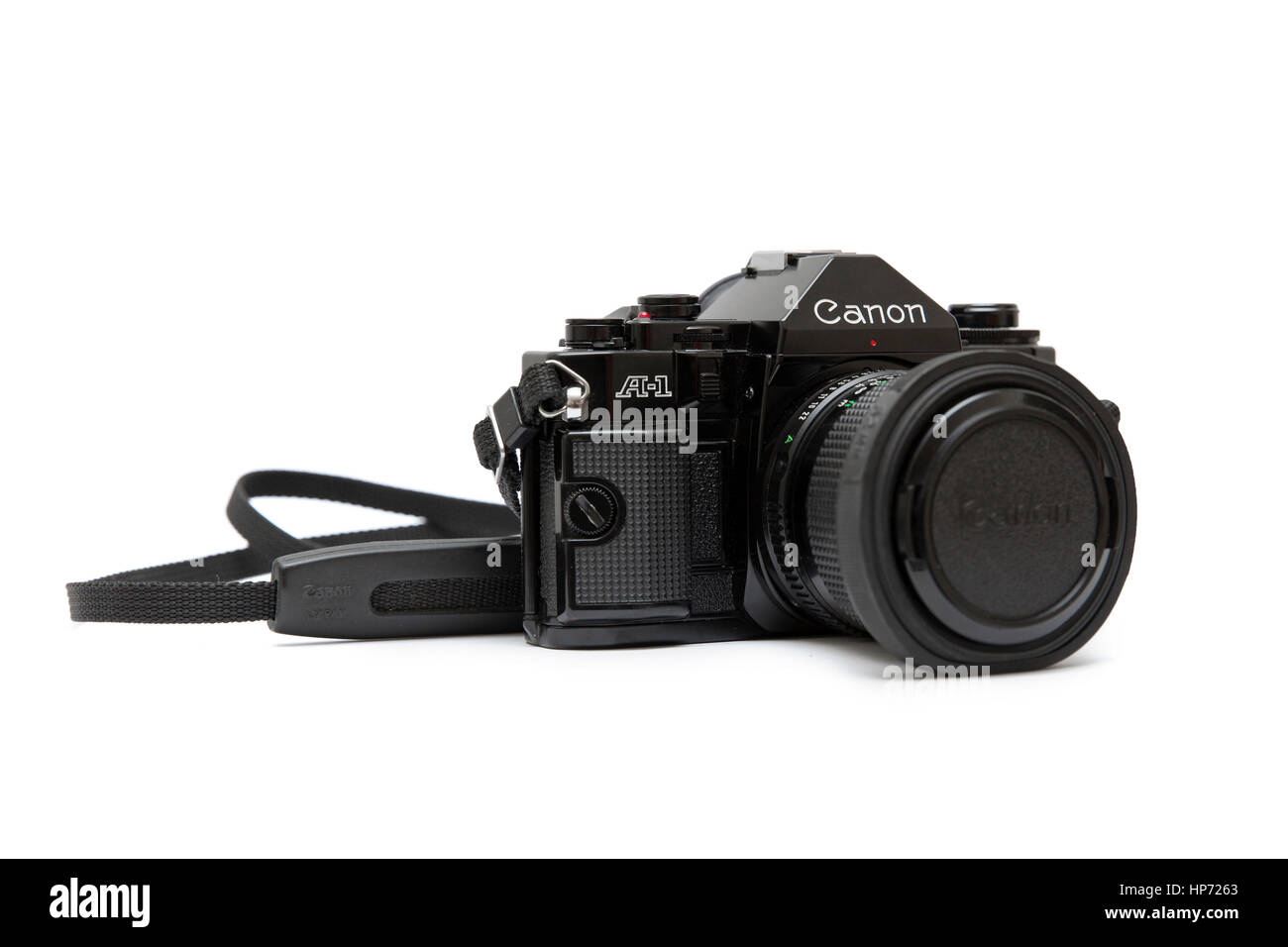 Canon A-1 is advanced level single lens reflex (SLR) 35 mm film camera for use with interchangeable lenses. - Stock Image