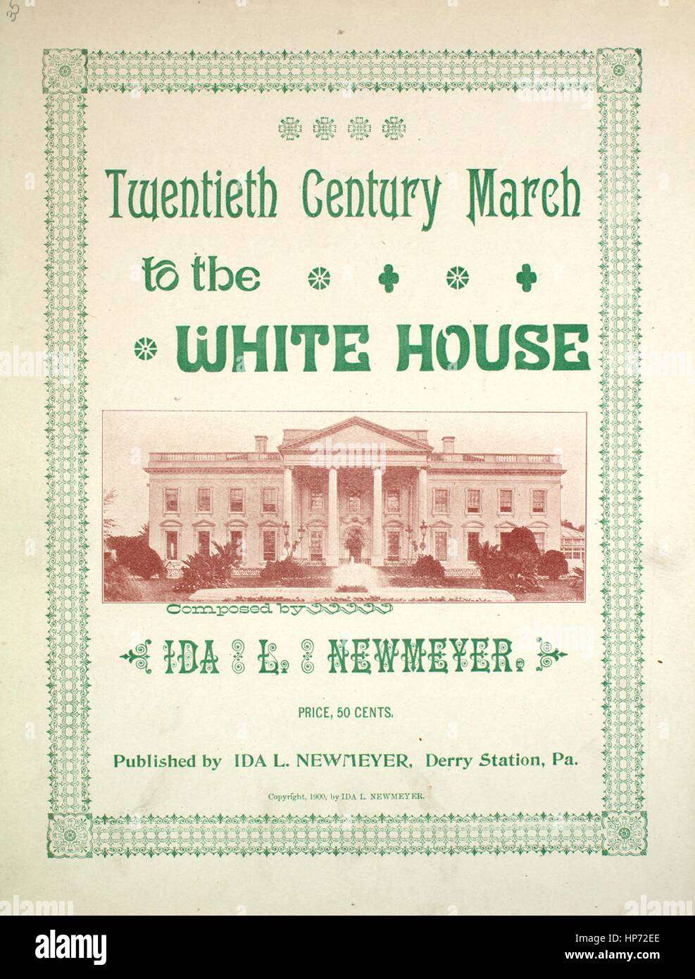 Sheet music cover image of the song 'Twentieth Century March to the White House', with original authorship - Stock Image