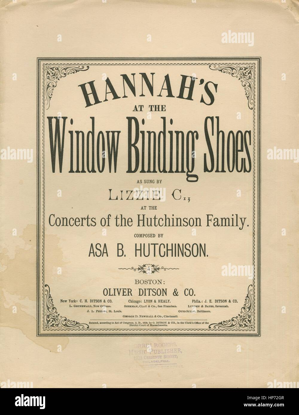 d7010482515 Sheet music cover image of the song  Hannah s at the Window Binding Shoes
