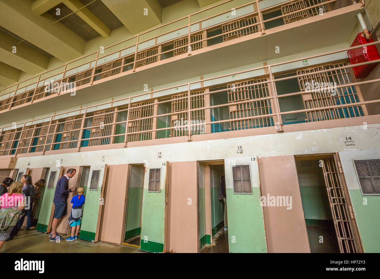 San Francisco, California, United States - August 14, 2016: Alcatraz special cells for solitary confinement, The - Stock Image
