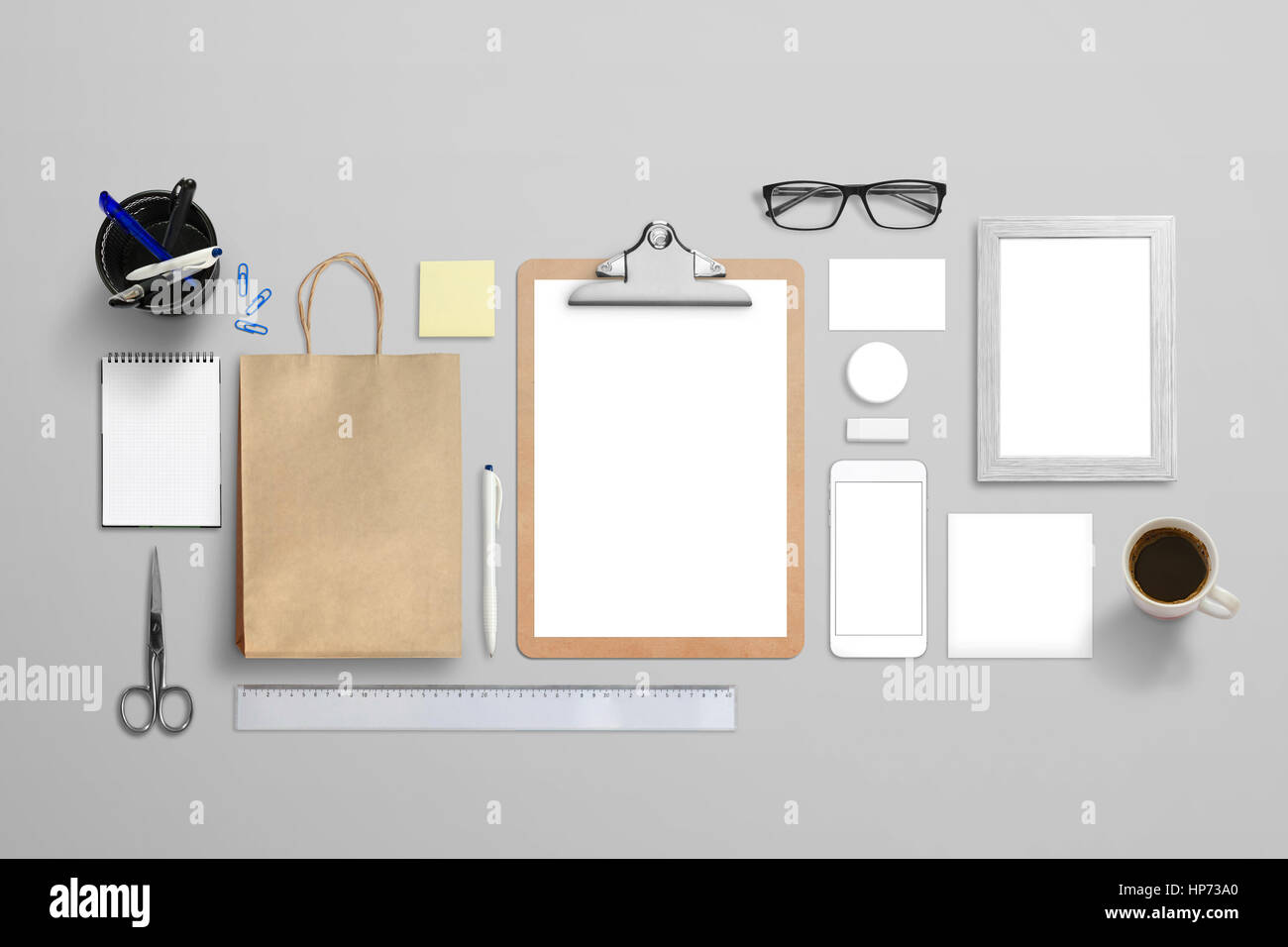 Top view of isolated stationery for logo, design presentation Stock ...
