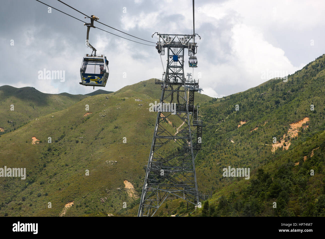 Cable-car system on Lantau Island going to and from the Tian Tan Buddha area - Stock Image