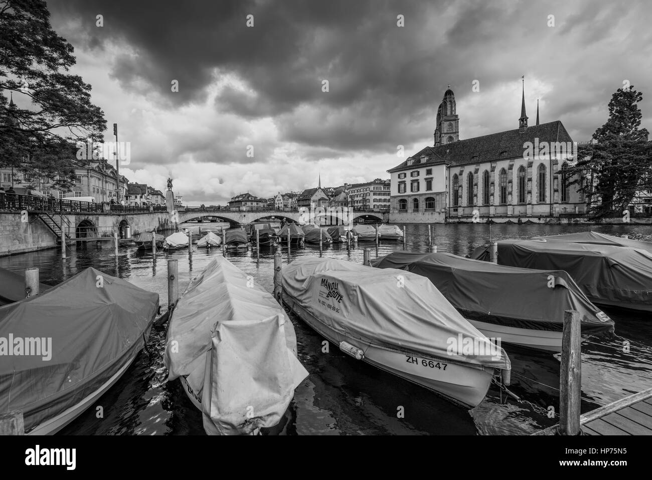 Zurich, Switzerland - May 24, 2016: Architecture of Zurich in overcast rainy weather, the largest city in Switzerland - Stock Image