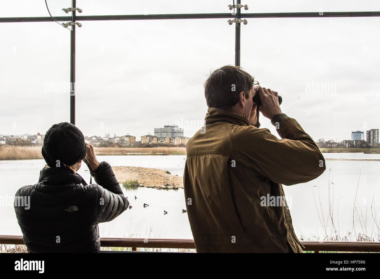 Keen eyed Twitchers (bird watchers) - Stock Image