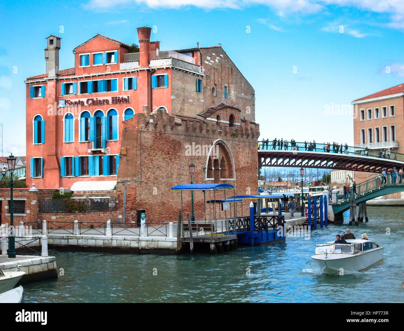 The Constitution Bridge and Hotel Santa Chaira Venice, Italy – October  04, 2008 - Stock Image