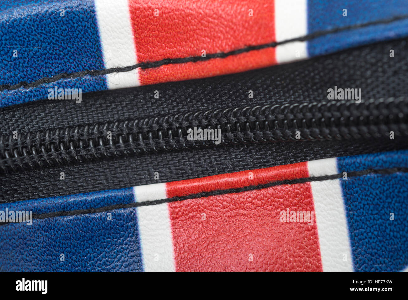Zippered Union Jack coin purse with as visual metaphor for the concept of UK household spending, the budget, or - Stock Image