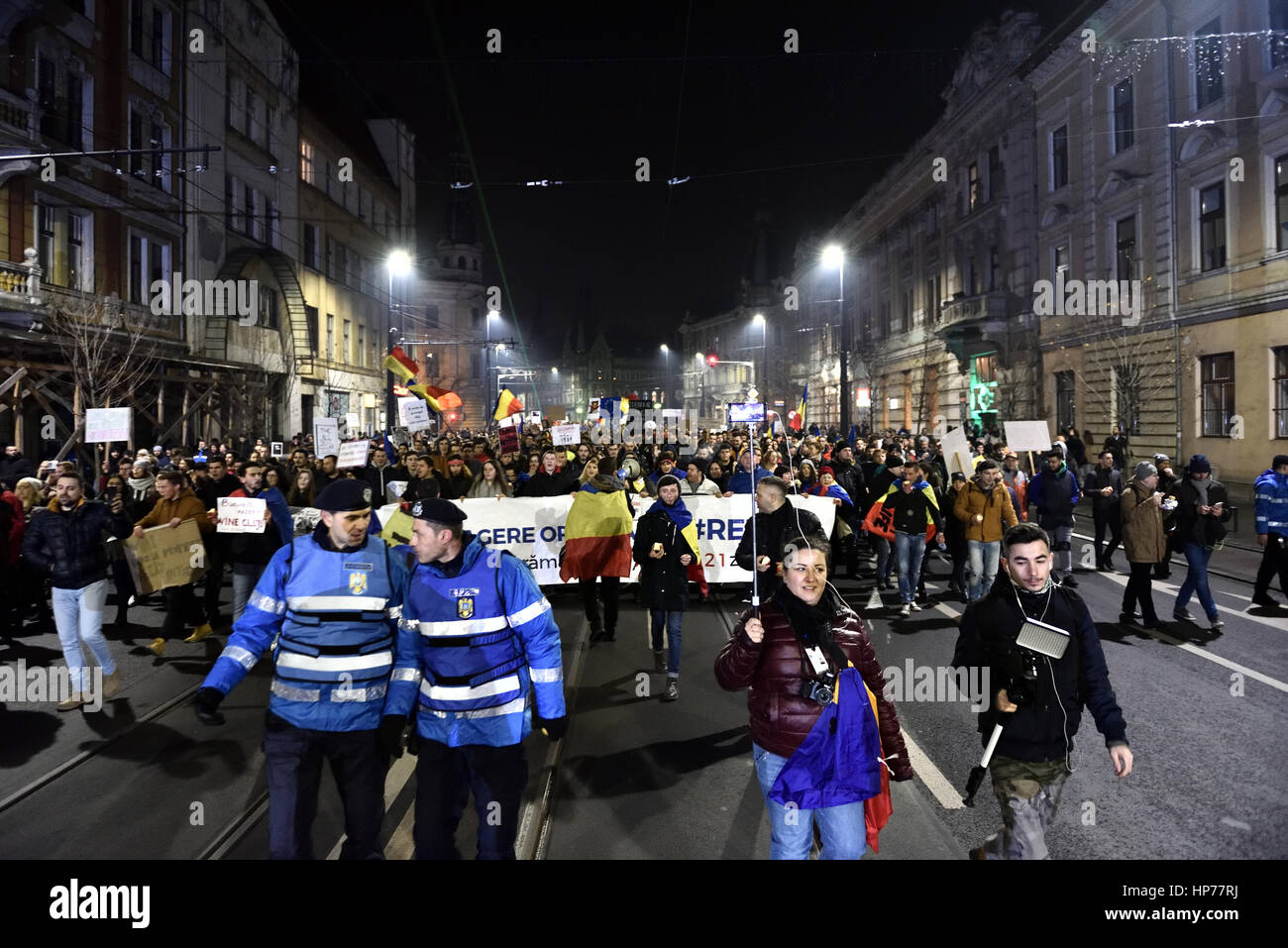 CLUJ NAPOCA, ROMANIA - FEBRUARY 4, 2017: More than 50,000 people protesting against the Romanian government's - Stock Image