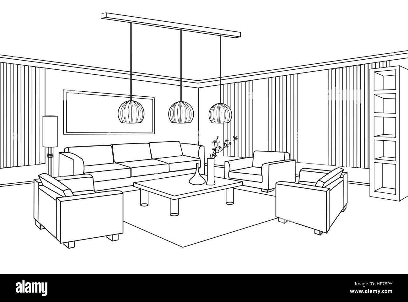 Living Room View. Interior Outline Sketch. Furniture Blueprint.