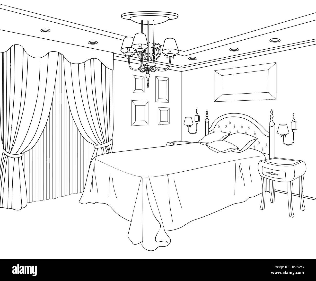 Bedroom Furniture Doodle Line Sketch Of Home Interior Vintage Bed