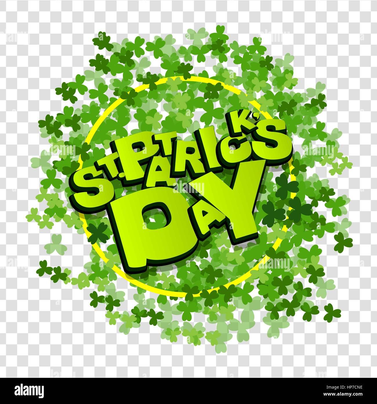 Comic speech phrase  Comic text sound effects  Green clover