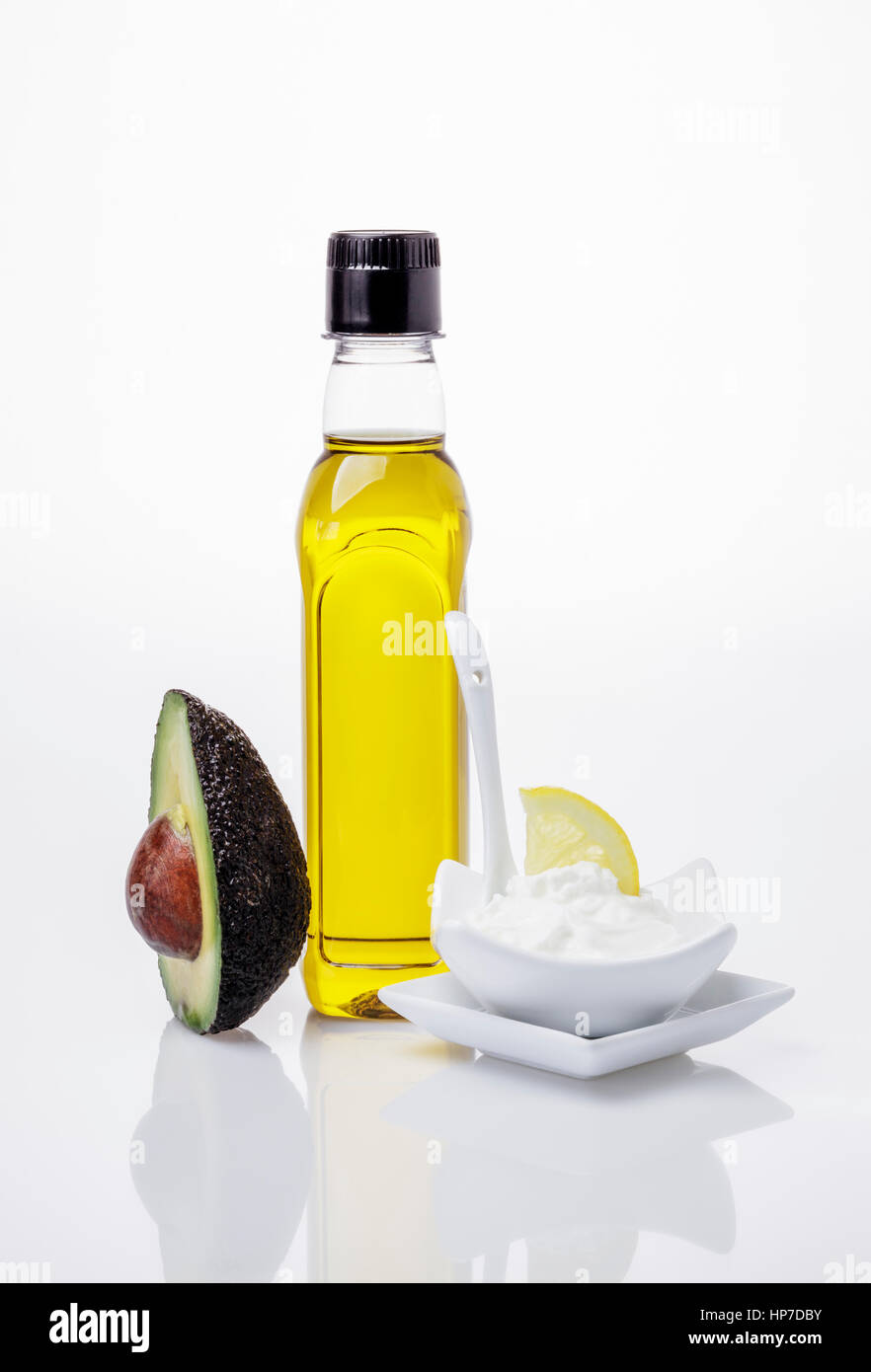 Avocado, Olive oil and Quark,  Ingredients for a DIY Face Mask for dry Skin - Stock Image