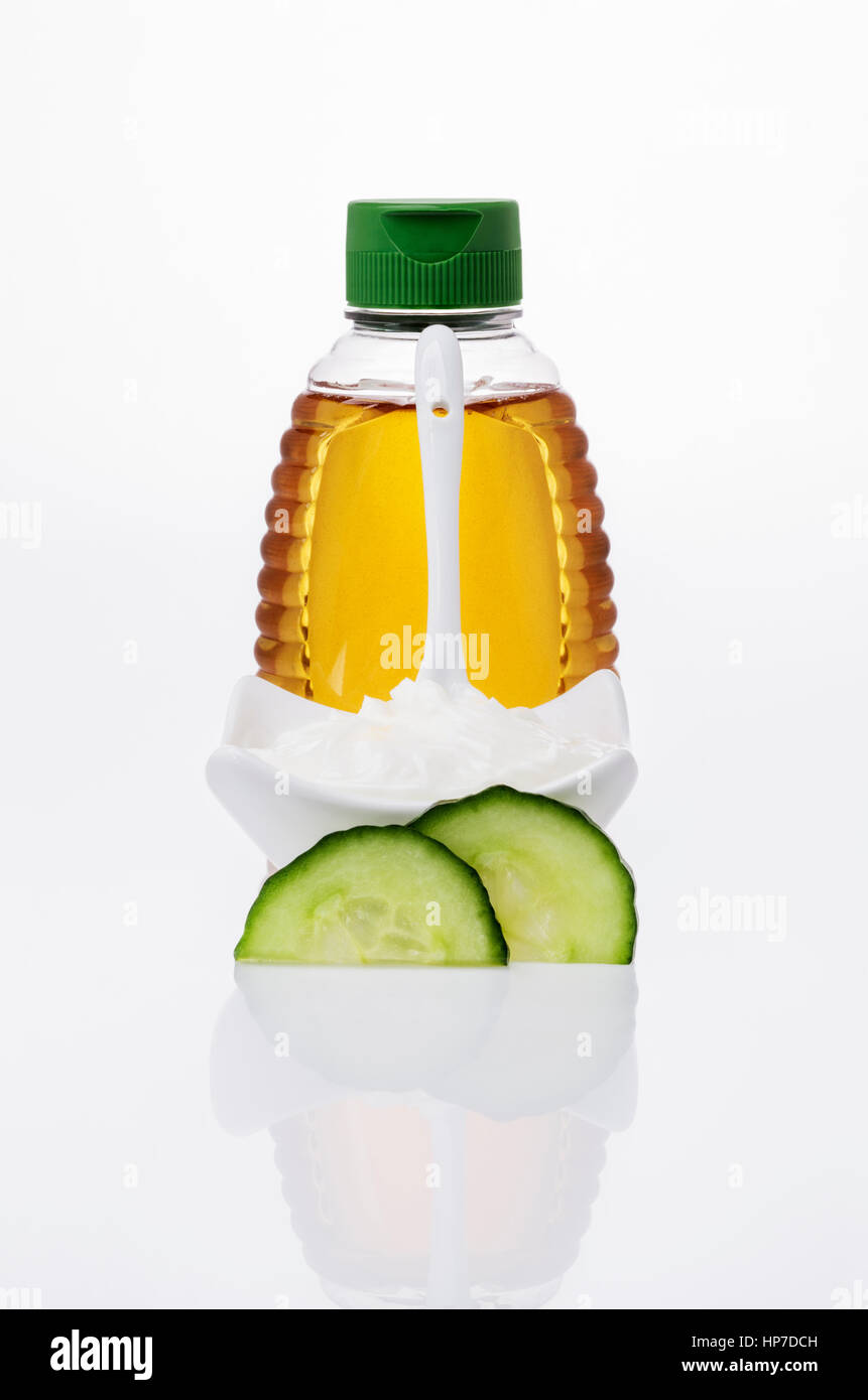 Honey, Quark and cucumber, Ingredients for a DIY Face Mask - Stock Image