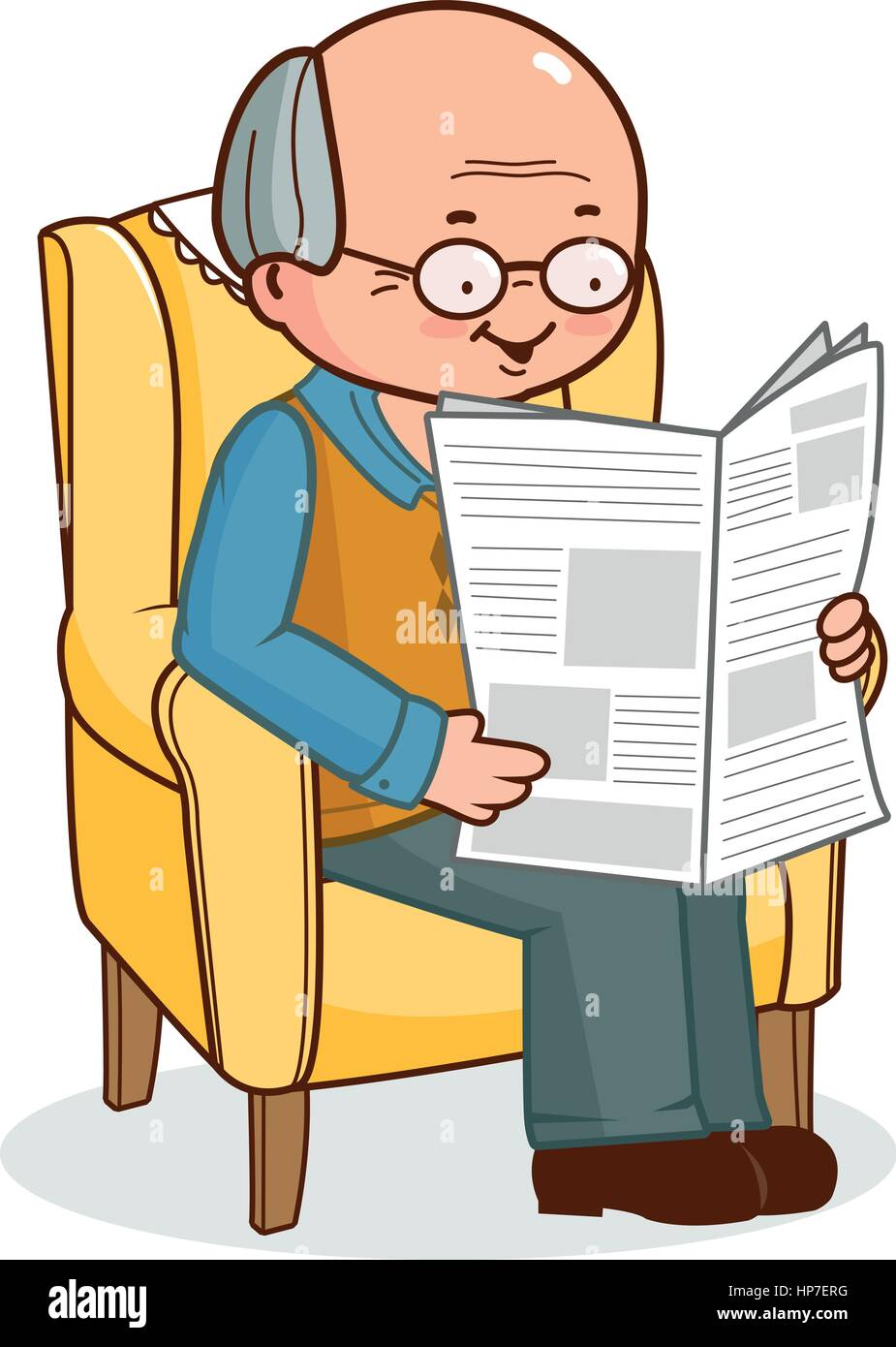 grandpa reading newspaper stock vector images - alamy