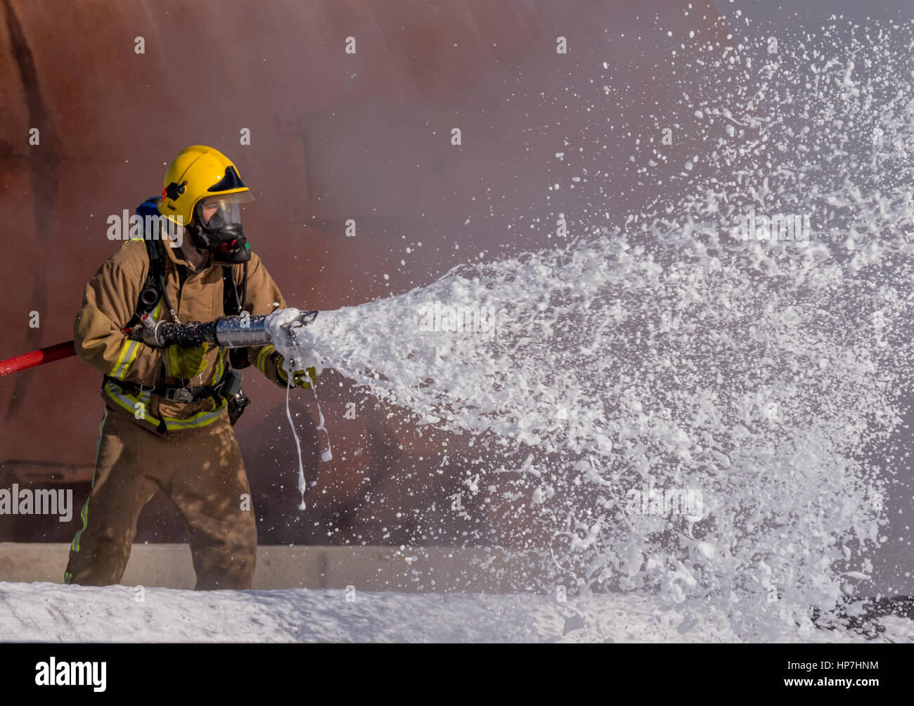 Royal Navy Crash/Fire Exercise Predannack Airfield - Stock Image