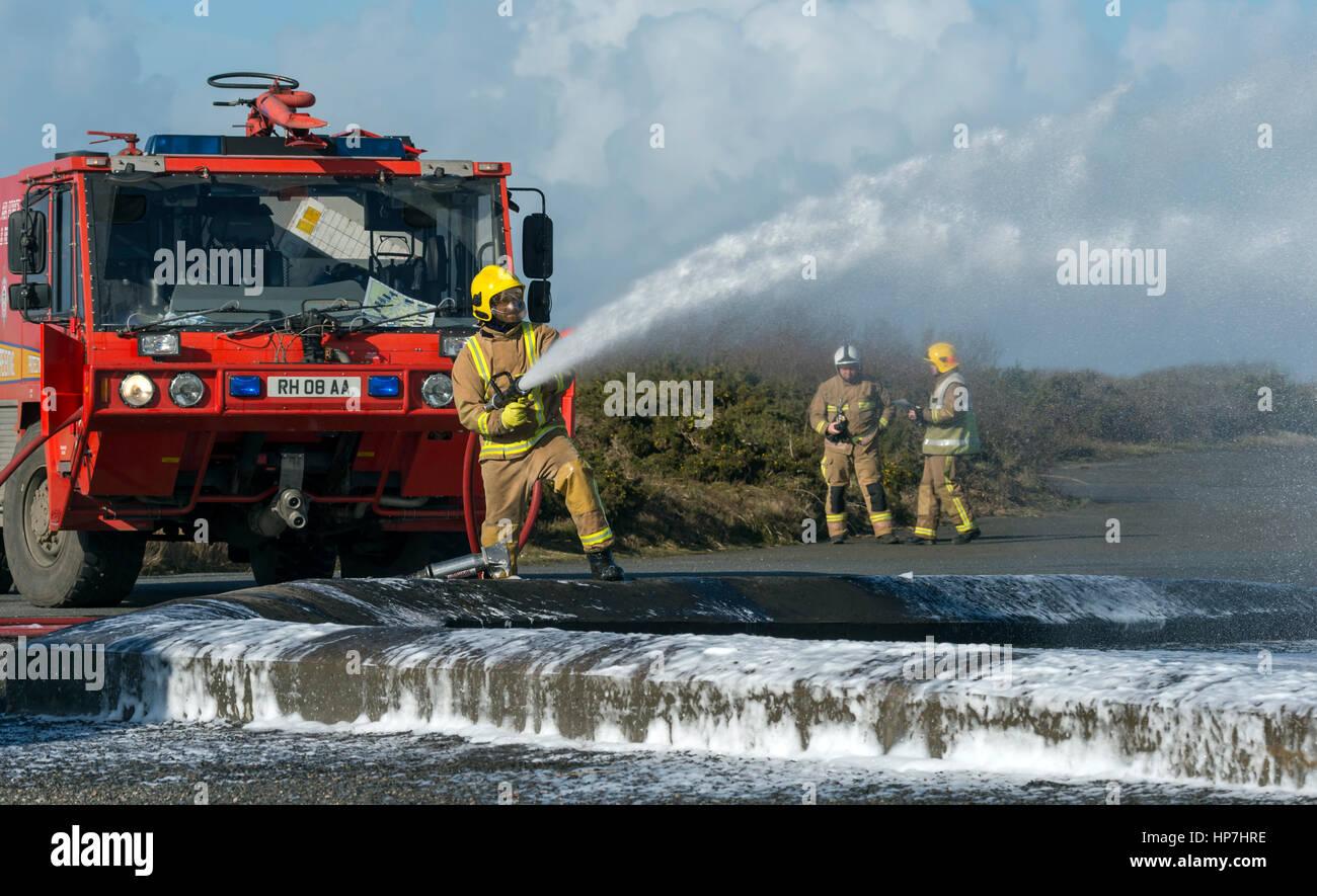 Royal Navy Crash/Fire Exercise Predannack Airfield - Stock Image