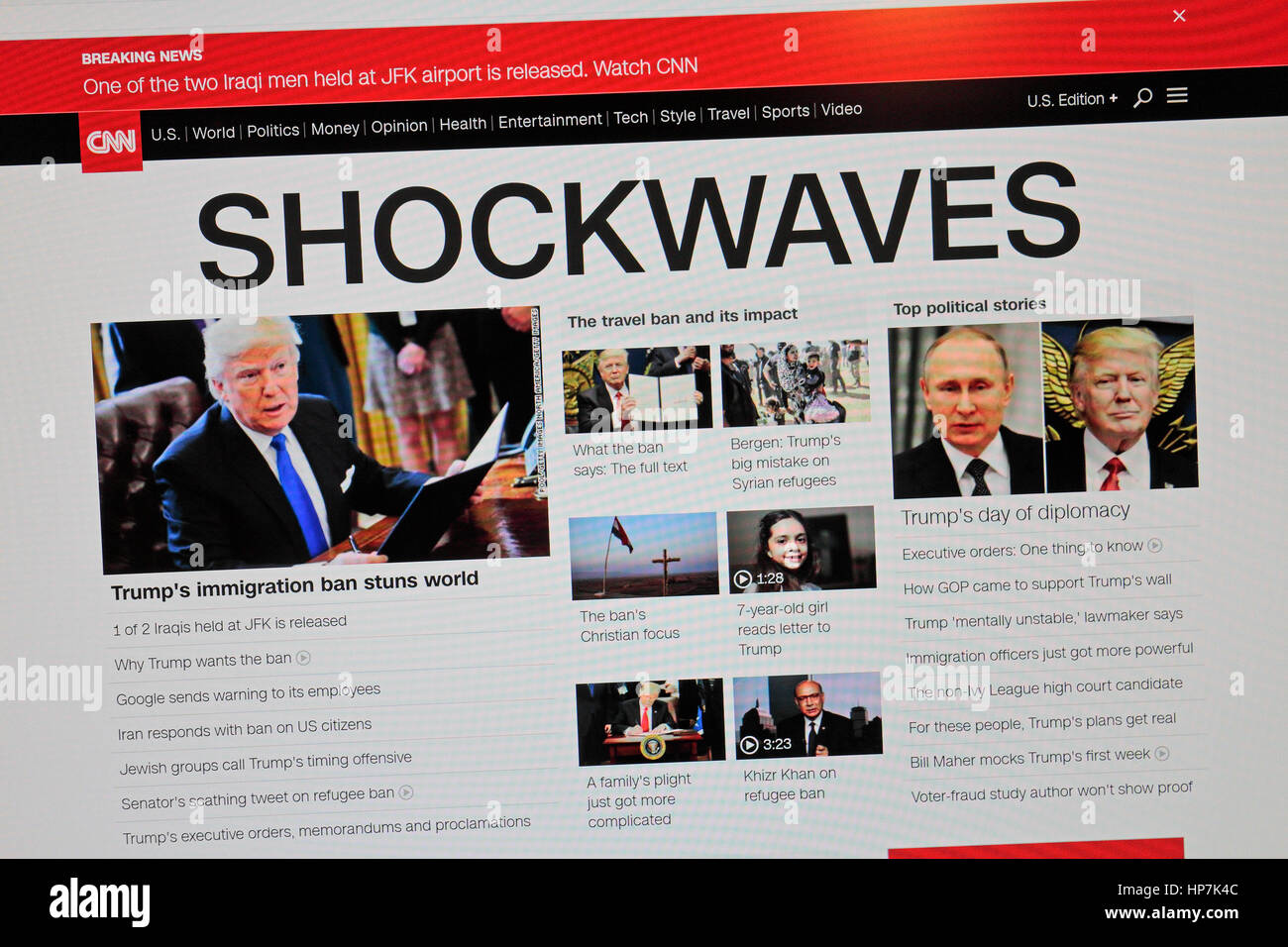 'Shockwaves' headline on CNN online following the introduction of President Donald Trump's first immigration - Stock Image