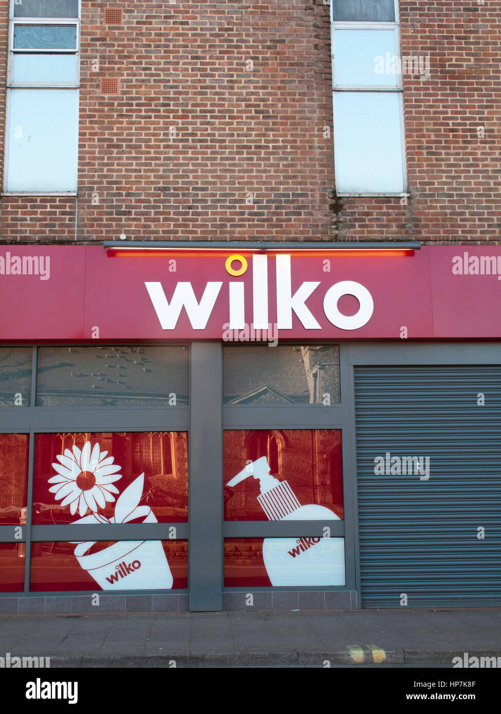 Wilko shop window, retails homeware and household goods owned by Tony and Lisa Wilkinson - Stock Image