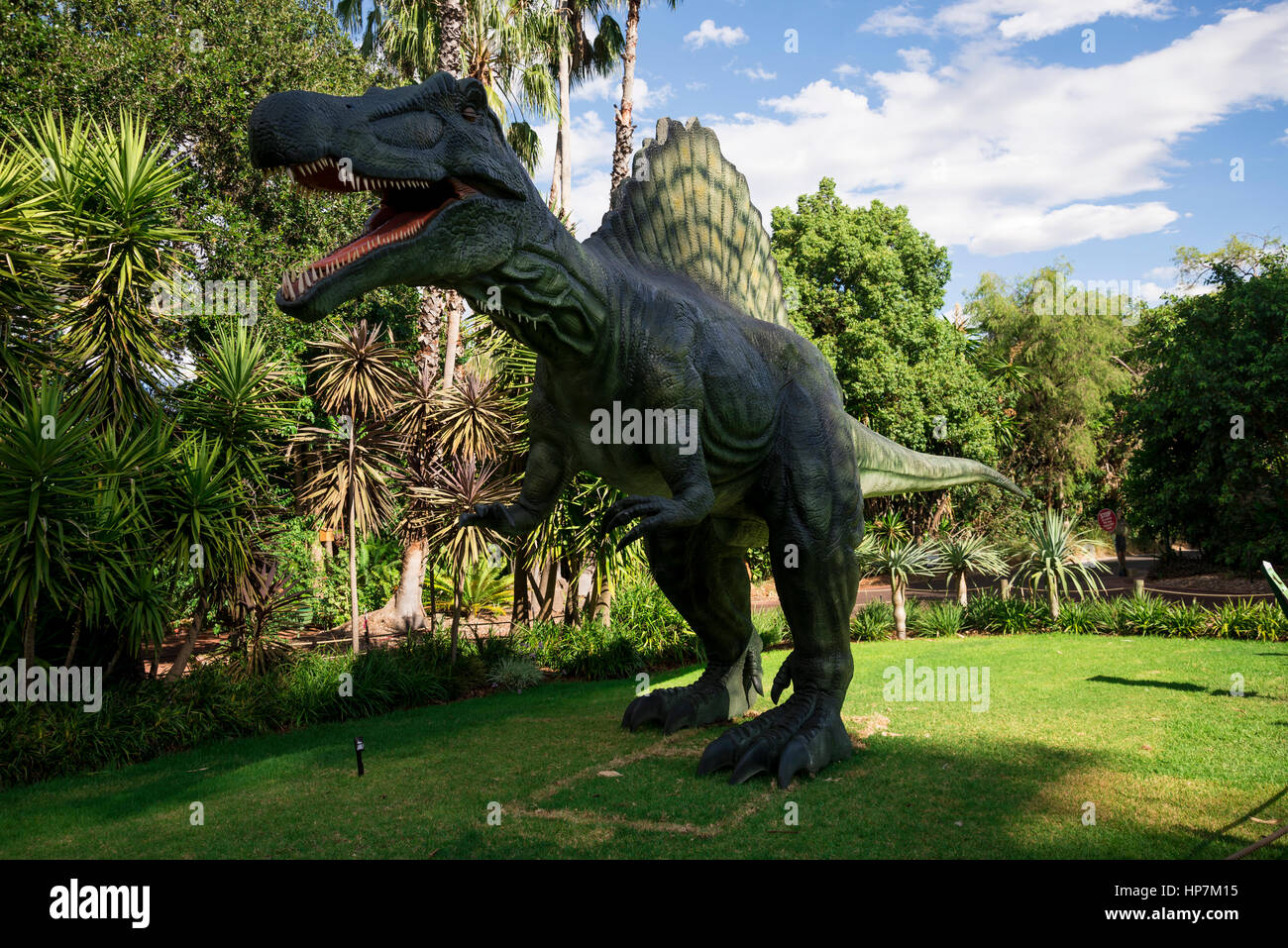 Roaring Spinosaurus display model in Perth Zoo as part of Zoorassic exhibition - Stock Image