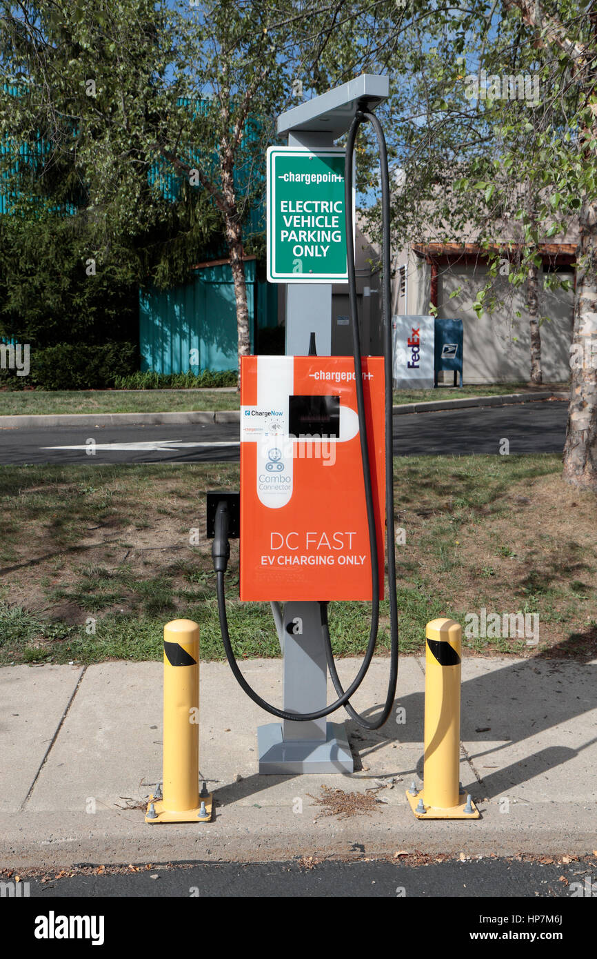 Electric vehicle charge point in Mystic Seaport car park,Mystic, Connecticut, United States. Stock Photo