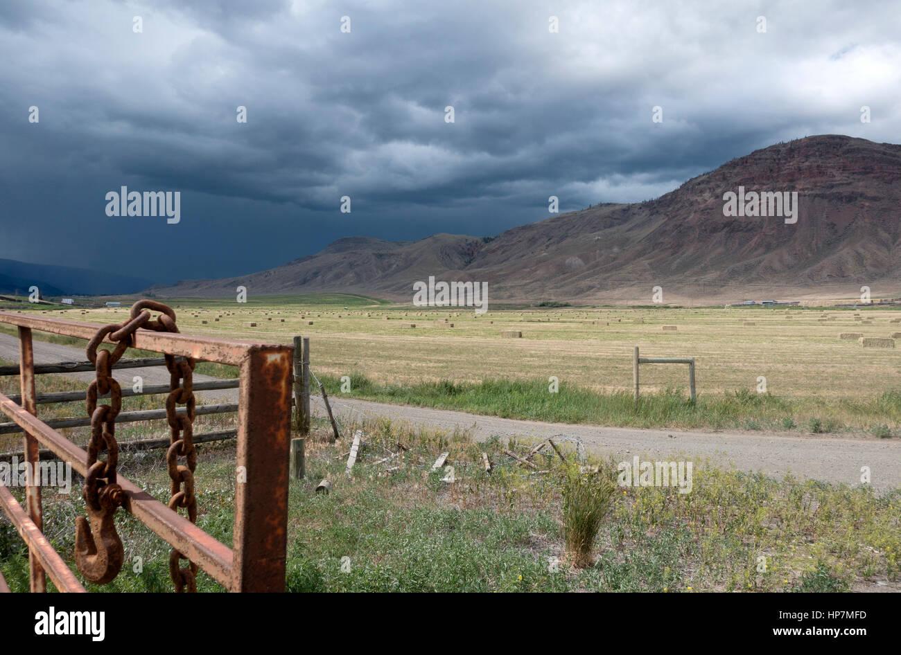 Farmland near Cache Creek, British Columbia, Canada - Stock Image