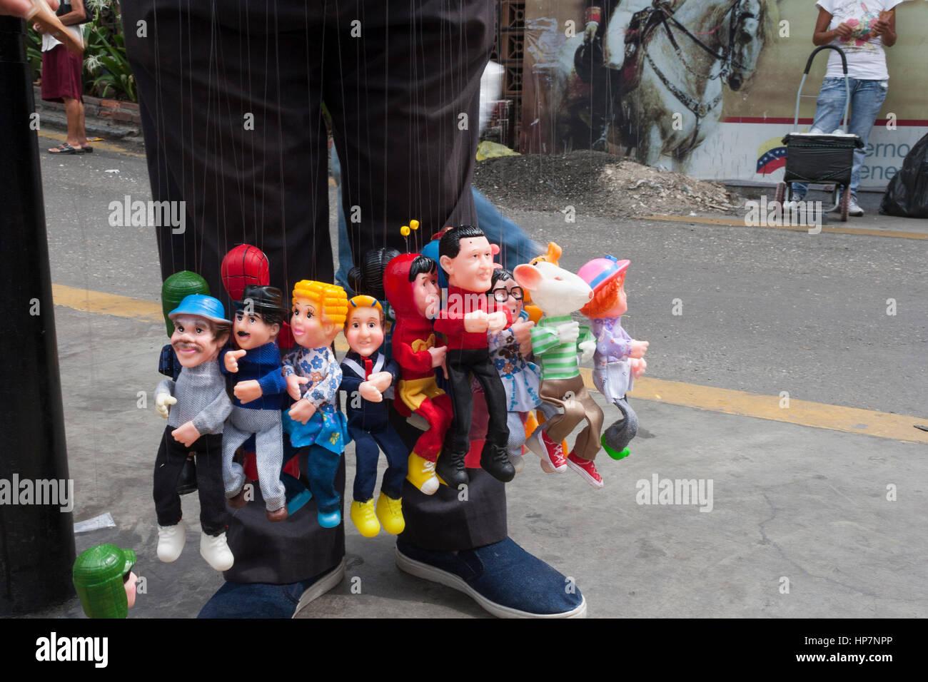 Caracas, Dtto Capital / Venezuela - 04/04/2012.Puppets Street seller with socialist political leader Hugo Chávez Stock Photo