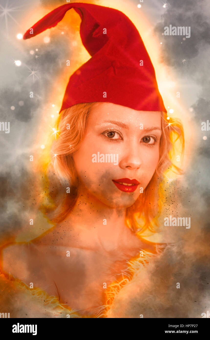 Digitally enhanced image of a young blond woman with red cap - Stock Image