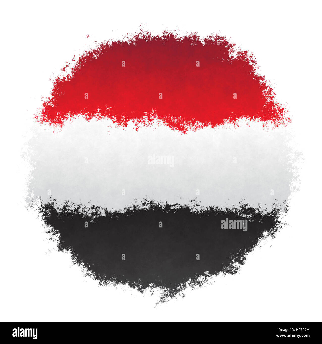 Color spray stylized flag of Yemen on white background - Stock Image