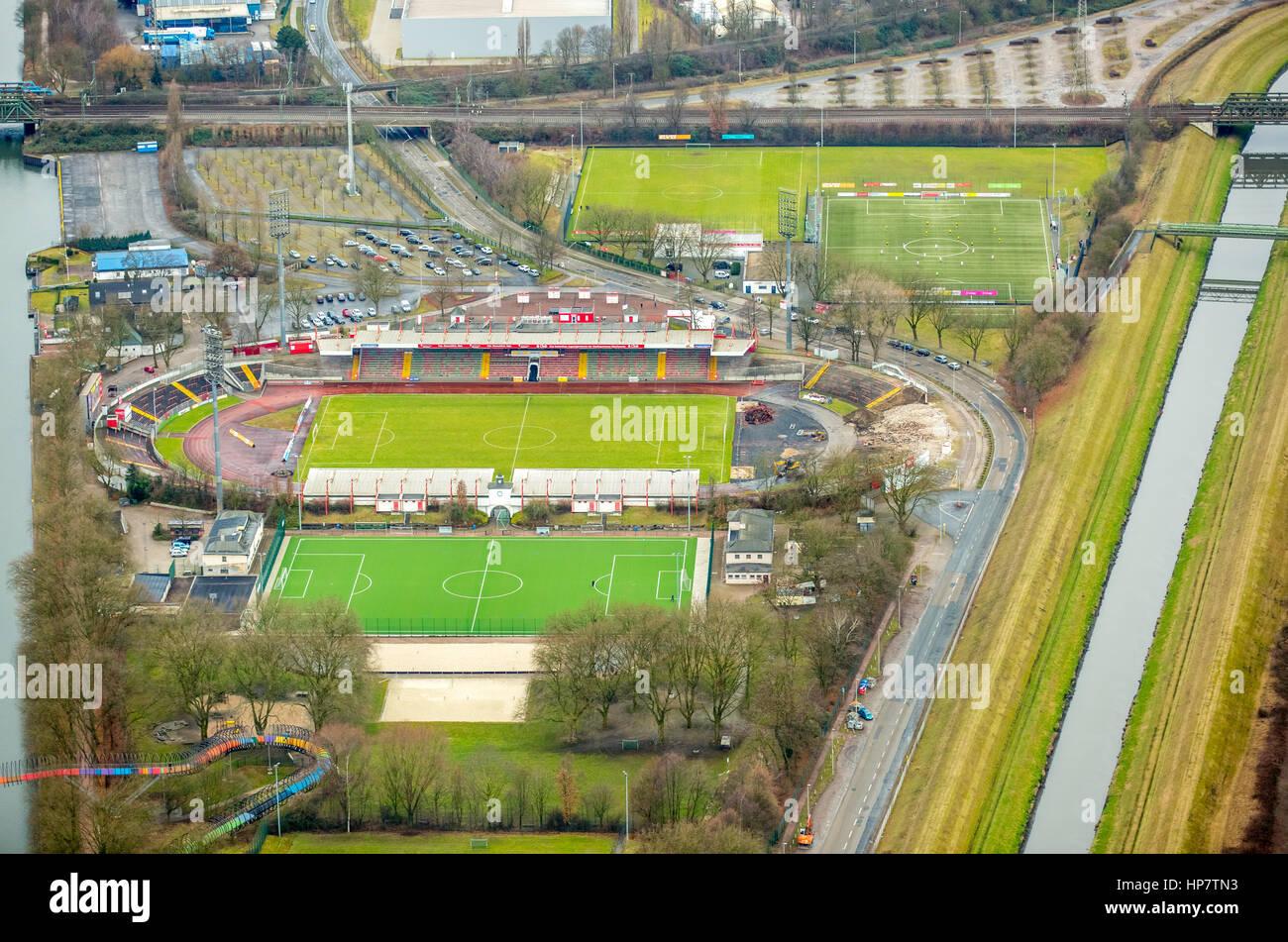 Stadium Niederrhein, grandstand , sports field, SSB terrain, between Emscher and Rhine-Herne Canal, Emscher Island, - Stock Image