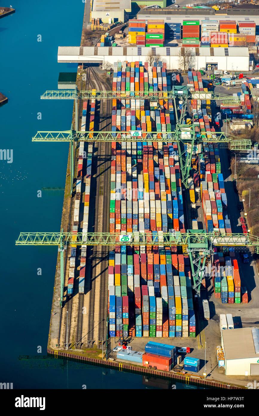 Container Terminal Dortmund GmbH, Kanalstraße, Dortmund Port, Dortmund, Ruhr Area, North Rhine-Westphalia, - Stock Image