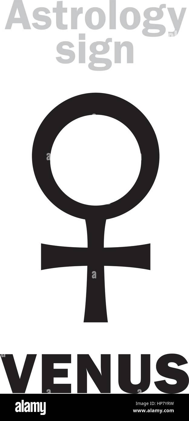 Astrology Alphabet: VENUS (female), classic minor personal planet. Hieroglyphics character sign (single symbol). - Stock Image
