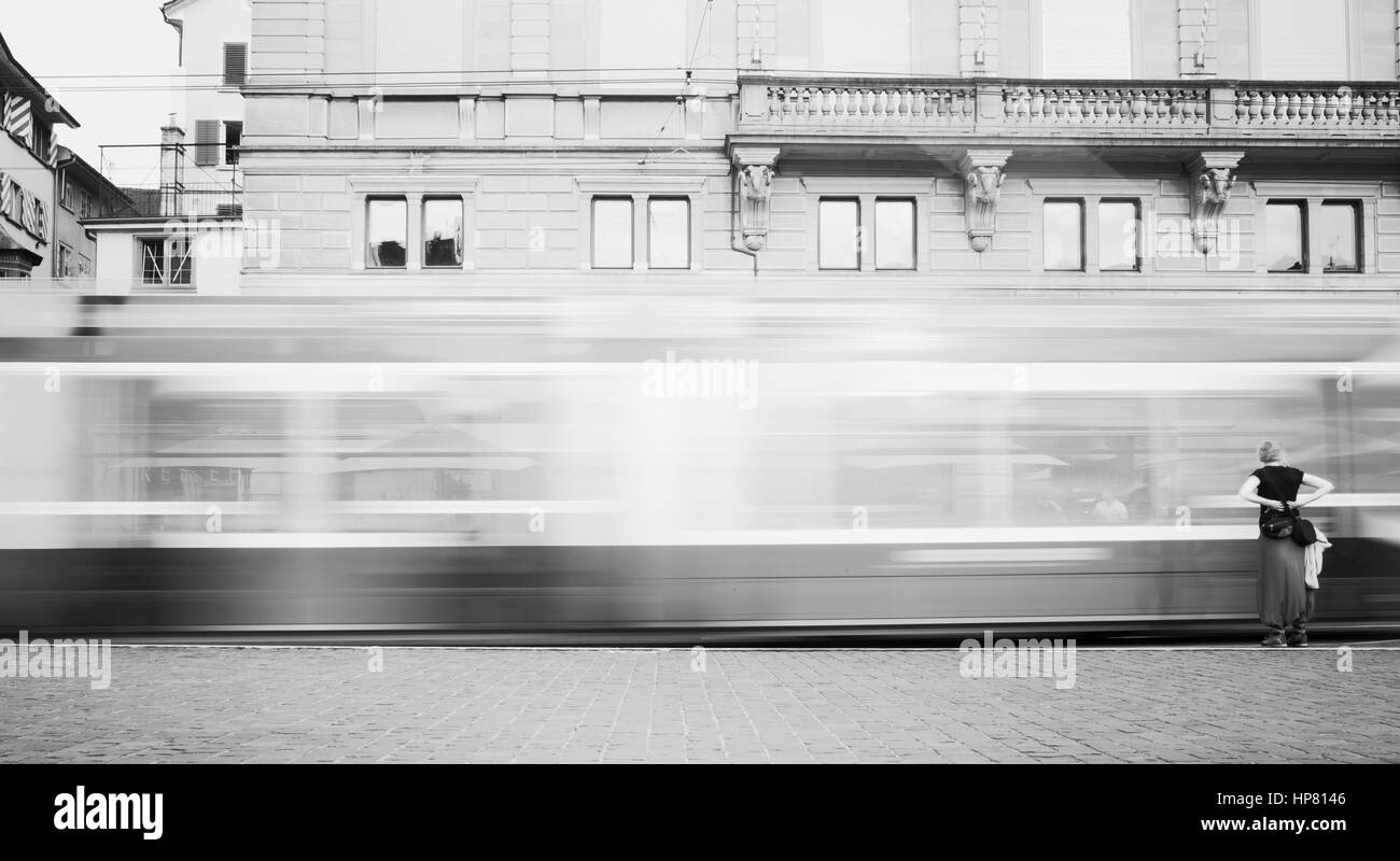Tram is the main transport in Zurich. - Stock Image
