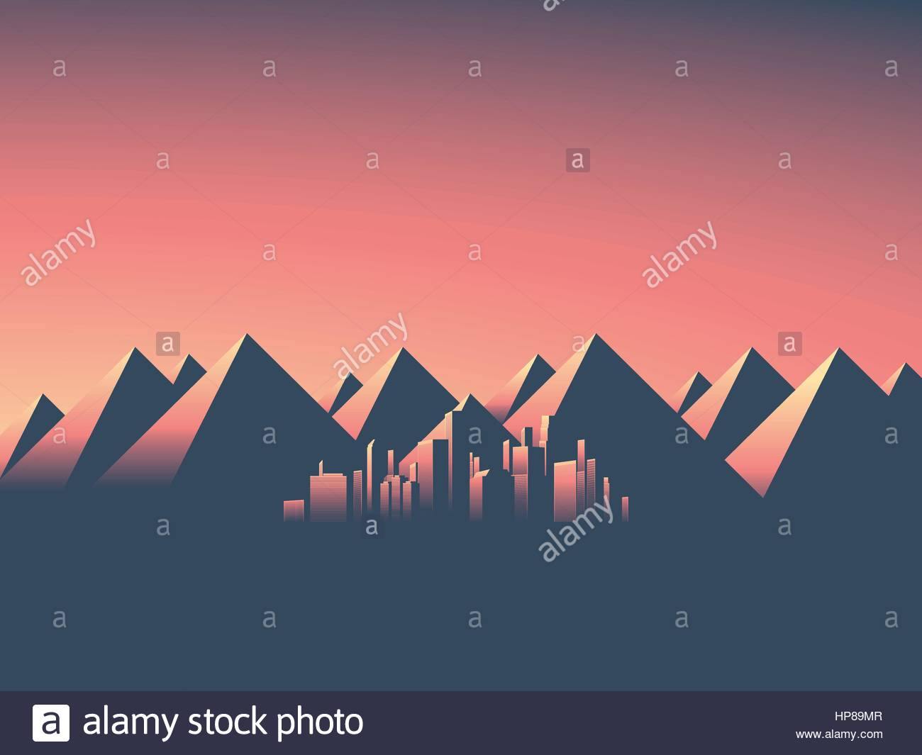 Modern cityscape with skyscrapers skyline in sunset colors. Mountain landscape background with high mountain range. Stock Vector