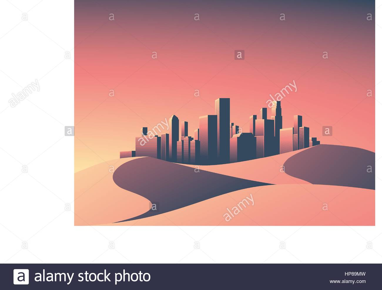 Modern cityscape with skyscrapers skyline in sunset colors. Desert landscape with hot environment. Eps10 vector Stock Vector