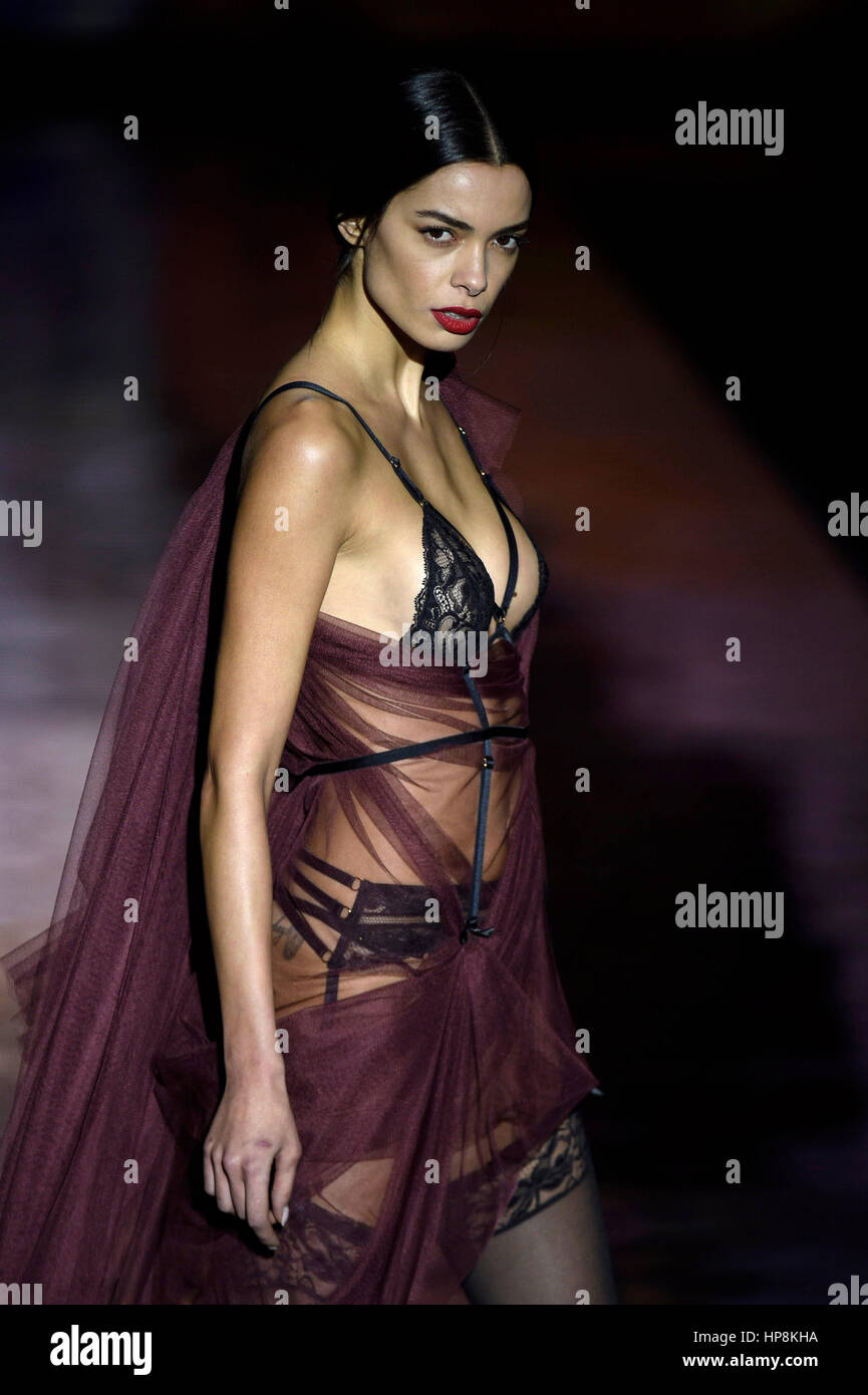 ae34bc3539 A model wears at collection runway a creation from Andres Sarda during  Pasarela Cibeles - Mercedes-Benz Fashion Week Madrid 2017