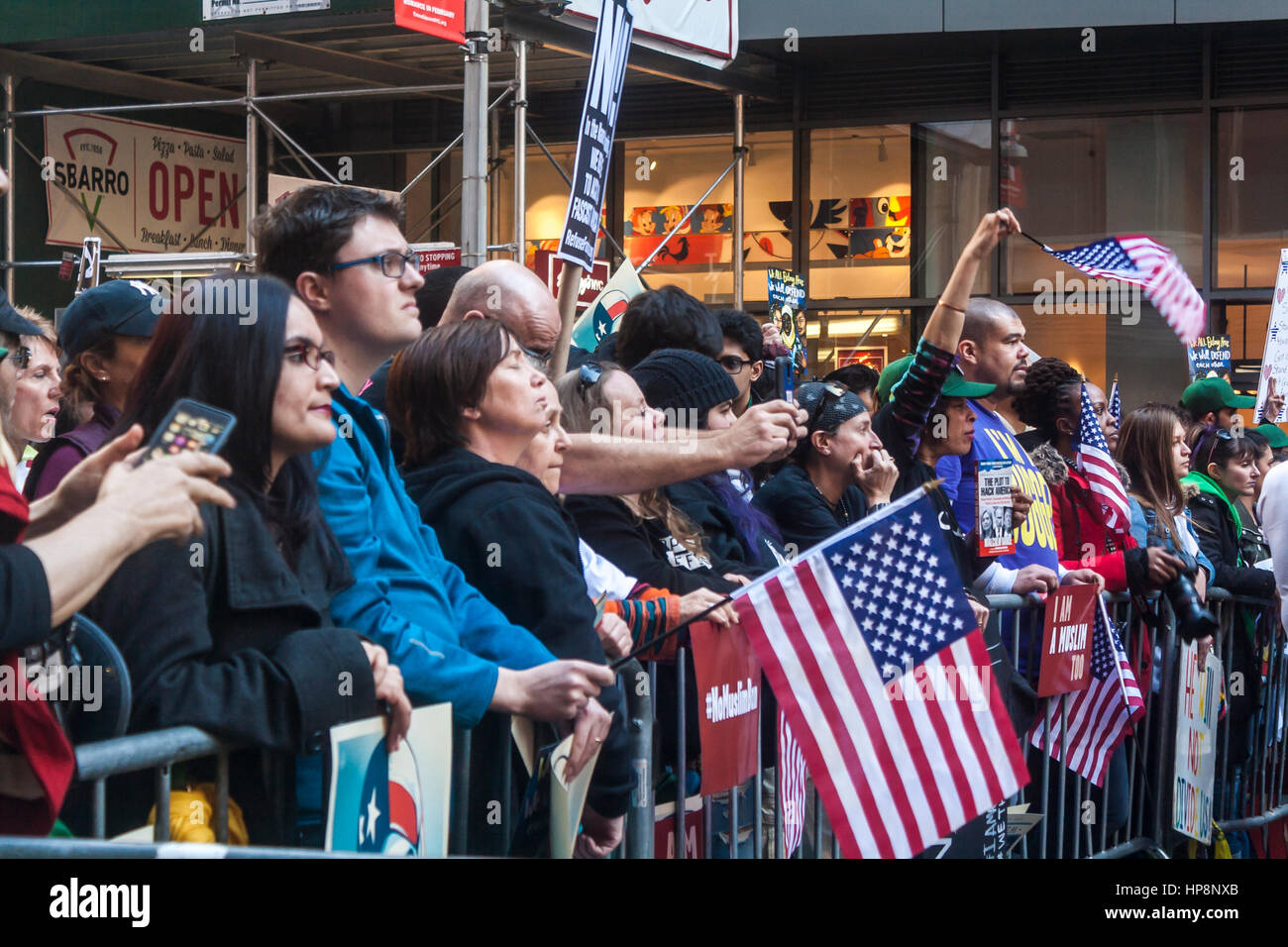"New York City, USA. 19th February, 2017. Protestors at the ""I Too Am A Muslim"" rally in Times Square. The event - Stock Image"