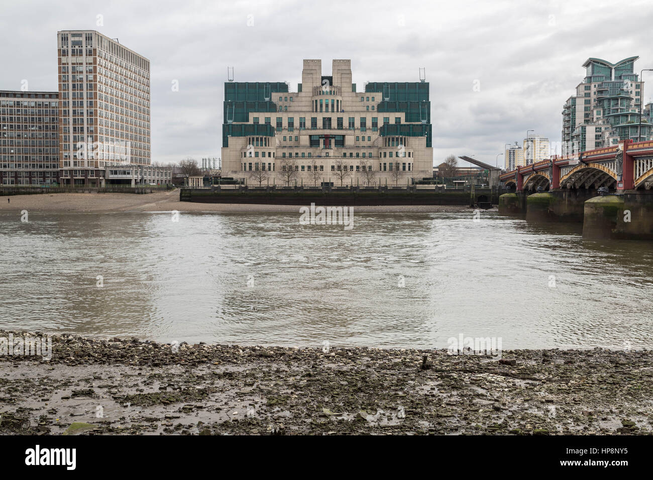 London, UK. 19th February, 2017. The SIS Building or MI6 Building at Vauxhall Cross. Headquarters of the British - Stock Image