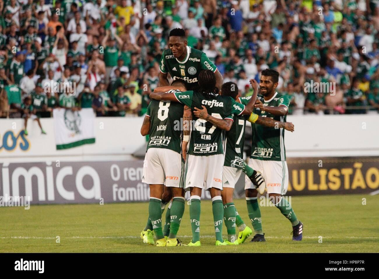 Araraquara Brazil 19th Feb 2017 Lucas Barrios Celebrates Goal During The Match