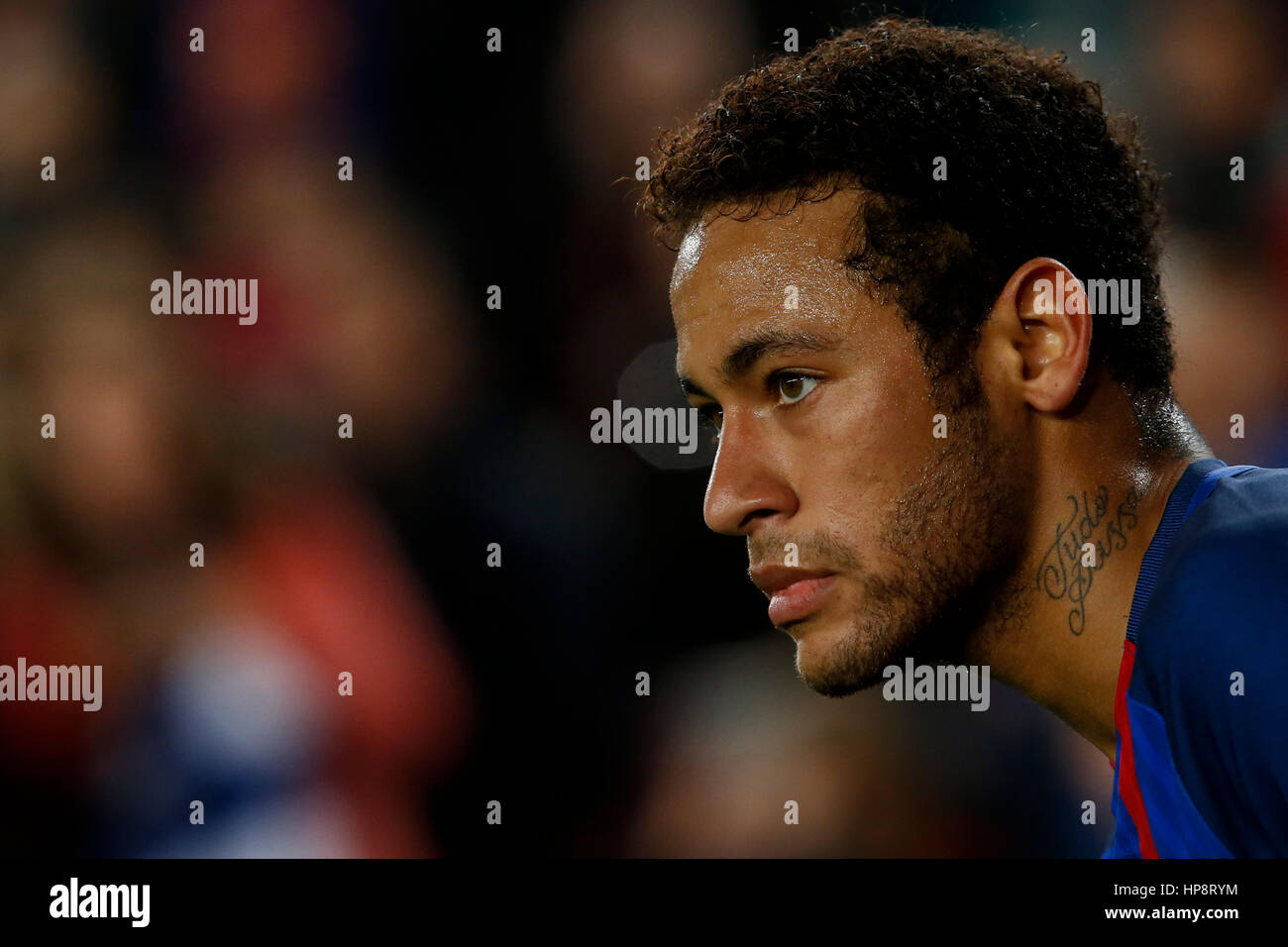 Barcelona, Spain. 19th Feb, 2017. Barcelona's Neymar looks on during the Spanish first division soccer match - Stock Image