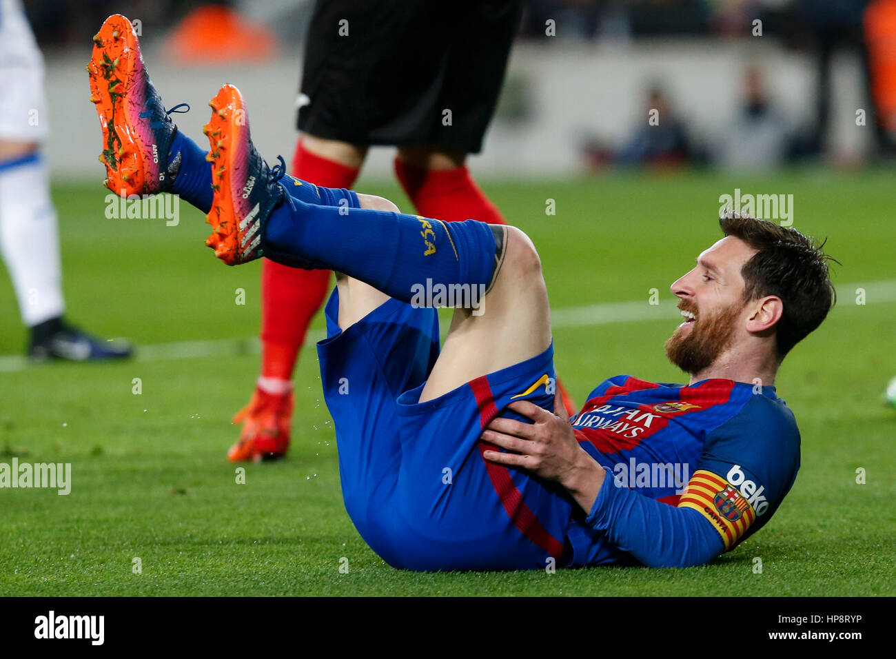 Barcelona, Spain. 19th Feb, 2017. Barcelona's Lionel Messi reacts during the Spanish first division soccer match - Stock Image