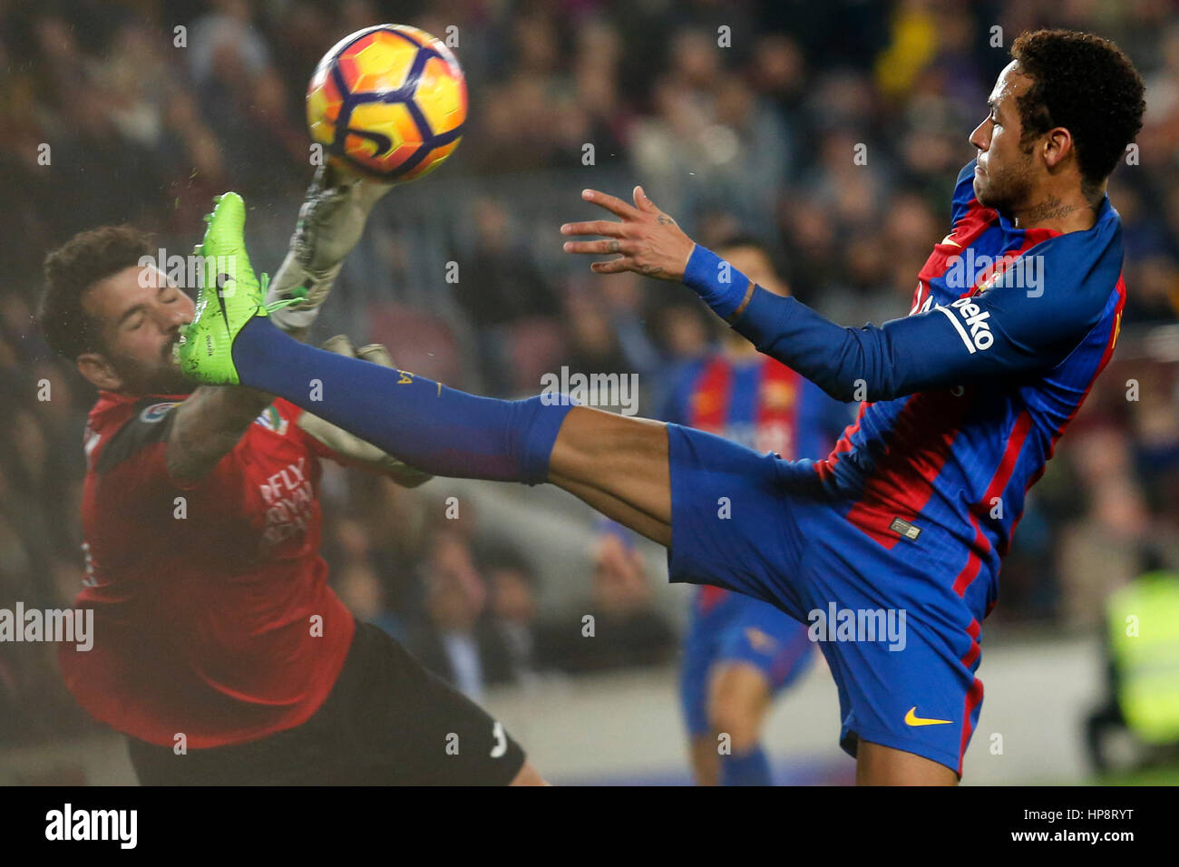 Barcelona, Spain. 19th Feb, 2017. Barcelona's Neymar (R) vies with Leganes' Iago Herrein during the Spanish - Stock Image