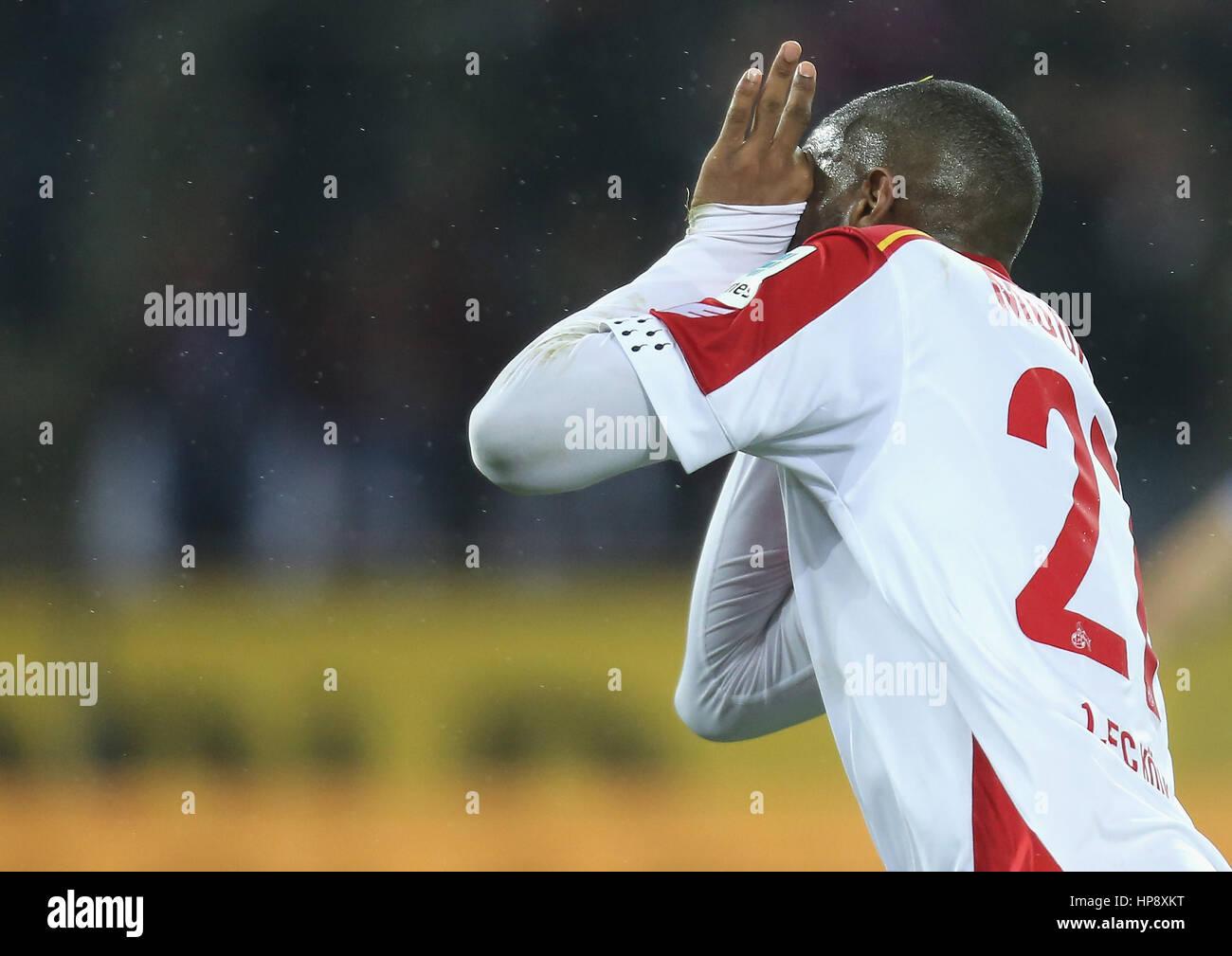 Cologne, Germany, February 19, 2017, Bundesliga matchday 21, 1. FC Koeln - FC Schalke 04:  Jubilation Anthony Modeste - Stock Image