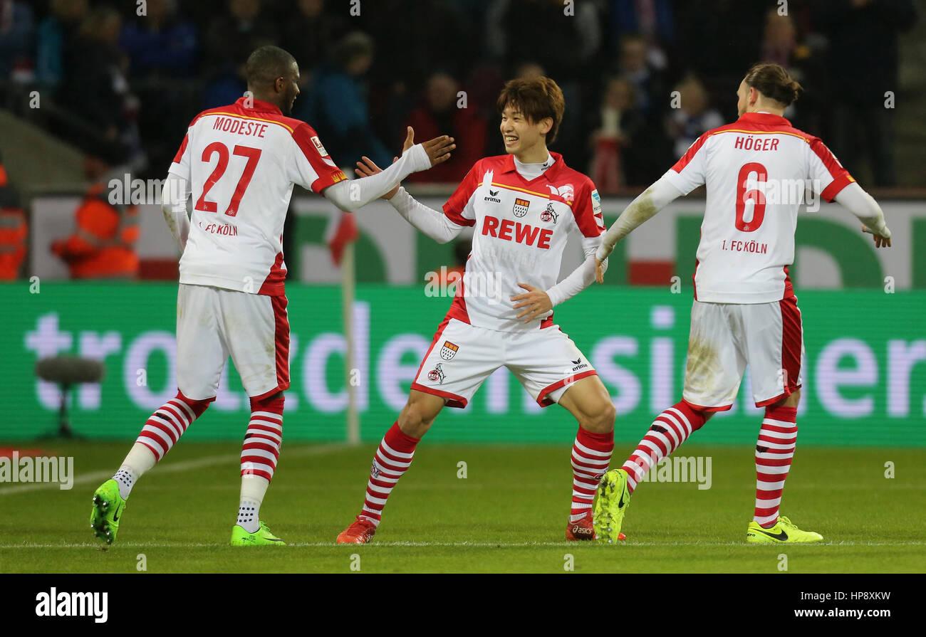 Cologne, Germany, February 19, 2017, Bundesliga matchday 21, 1. FC Koeln - FC Schalke 04:  Jubilation 1-1 durch - Stock Image