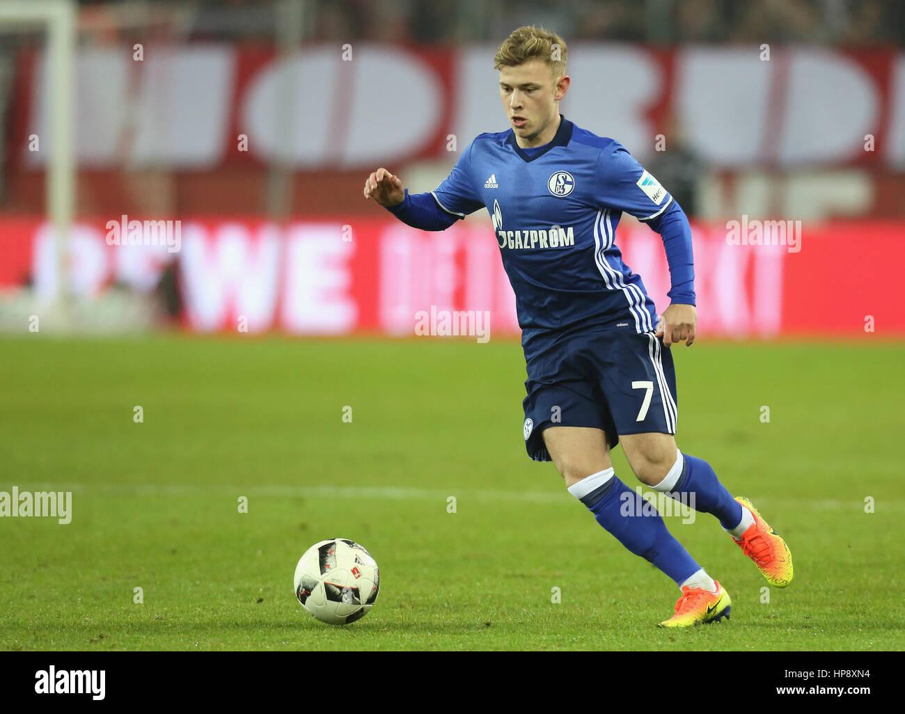 Cologne, Germany, February 19, 2017, Bundesliga matchday 21, 1. FC Koeln - FC Schalke 04:  Max Meyer (Schalke) controls - Stock Image