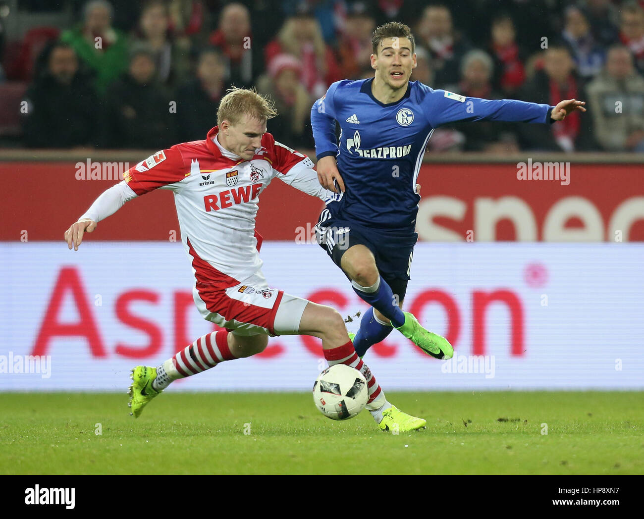 Cologne, Germany, February 19, 2017, Bundesliga matchday 21, 1. FC Koeln - FC Schalke 04:  Tackling Frederik Soerensen - Stock Image