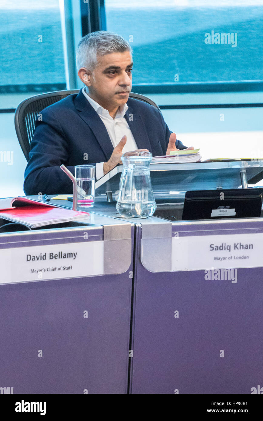 London, UK. 20th Feb, 2017. The Mayor of London Sadiq Khan fields questions from the London Assembly during Mayor's - Stock Image
