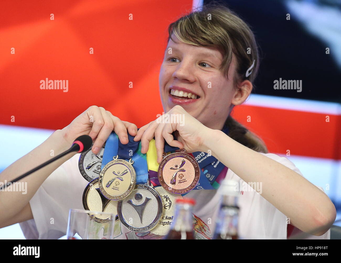 Moscow, Russia. 20th Feb, 2017. Athlete Yekaterina Zubova displays her medals at a press conference to promote the - Stock Image