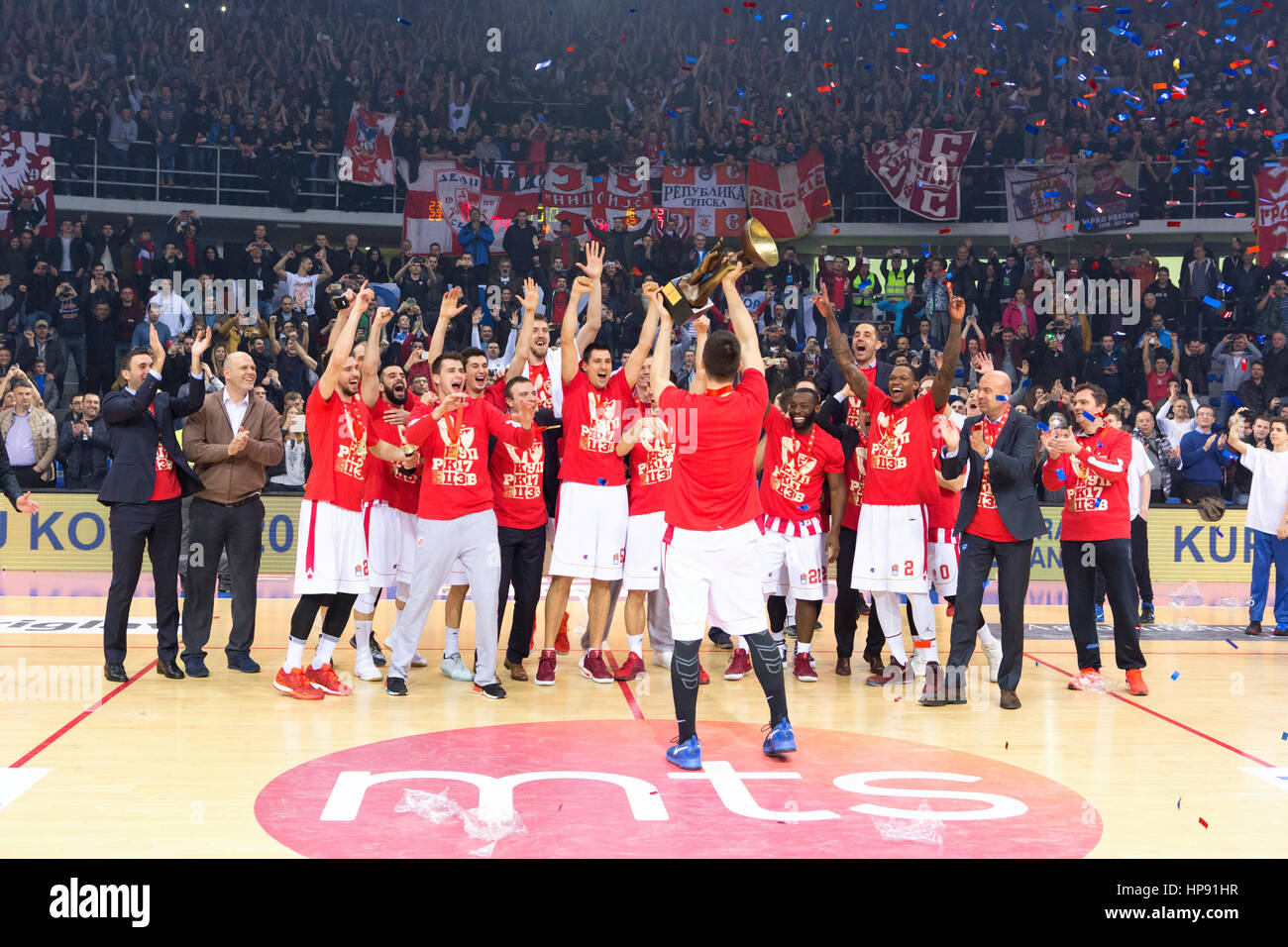 Nis, Serbia. 19th Feb, 2017. Players of Crvena Zvezda mts Belgrade celebrating the Cup awards during the 2016/2017 - Stock Image