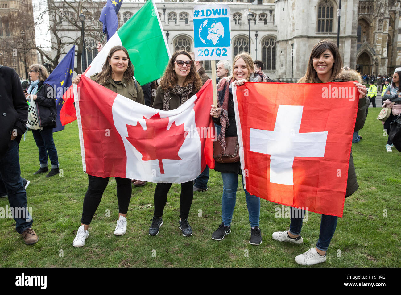London, UK. 20th February, 2017. Nationals of countries from around the world take part in a 'flagmob' for One Day Stock Photo