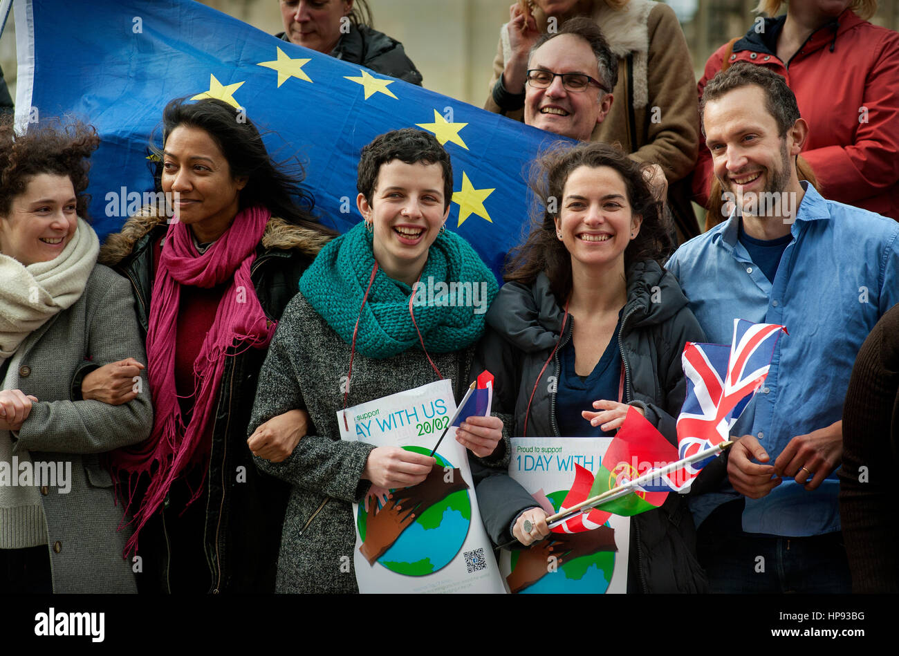 Cambridge, UK. 20th Feb, 2017. One Day Without Us demonstration in Cambridge, UK as part of the National Day of - Stock Image